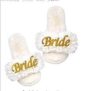 Elegant Bride wedding bridal slippers.